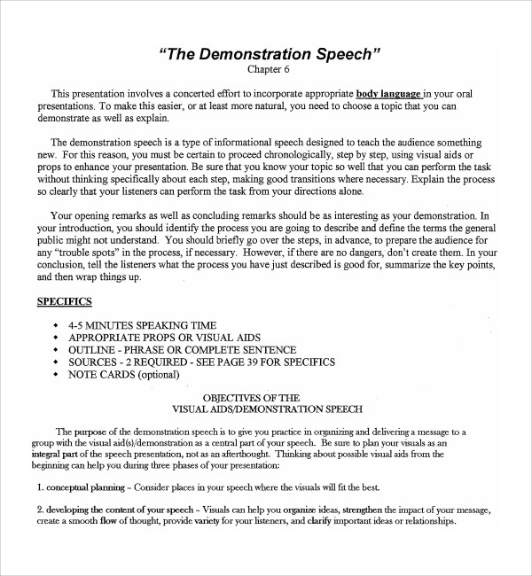 Sample Demonstration Speech Example Template - 8+ Free Documents in