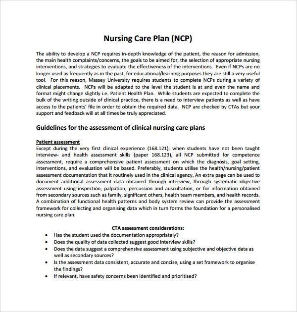 care plan template nursing