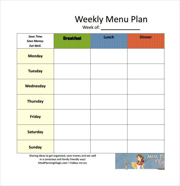 weekly meal planning template free