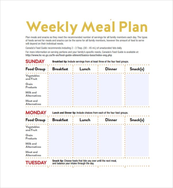sample weekly meal plan - Josemulinohouse - breakfast lunch and dinner meal plan for a week