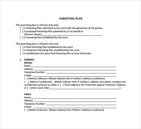 Sample Parenting Plan Template - 8+ Free Documents in PDF - parenting plan example