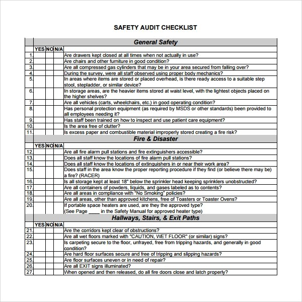 13+ Audit Checklist Templates \u2013 PDF, Word, Excel, Pages Sample