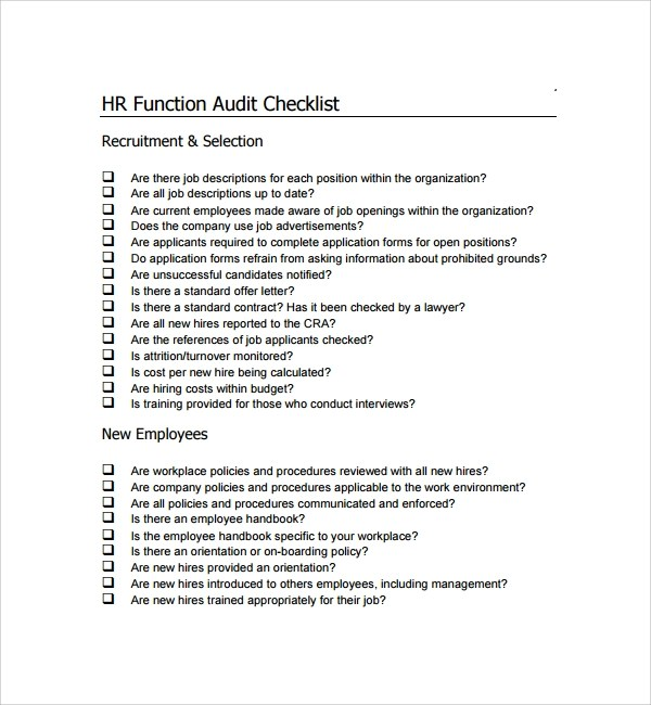 Sample Audit Checklist Template - 13+ Free Documents in PDF - audit forms templates