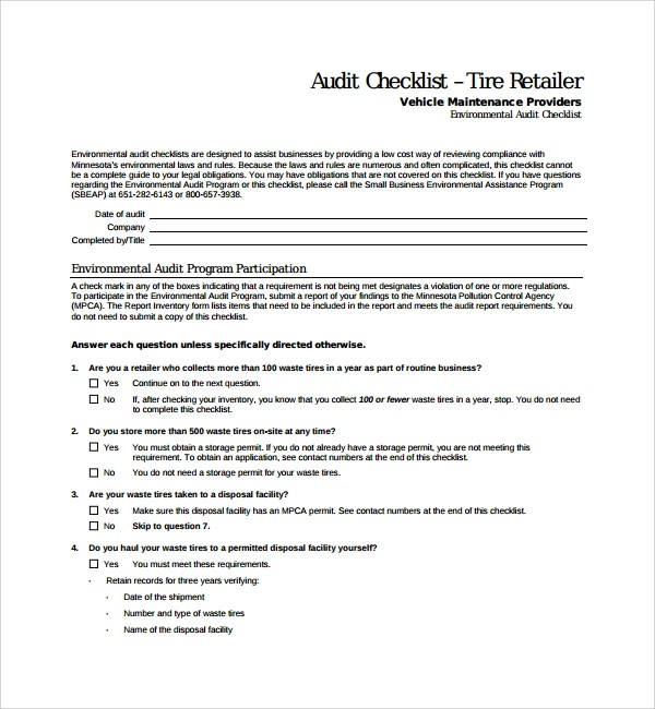 13+ Audit Checklist Templates Sample Templates - audit template sample