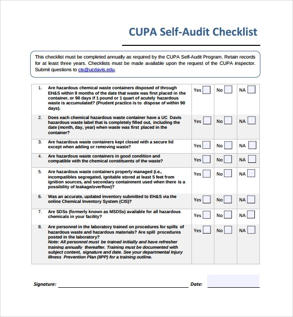13+ Audit Checklist Templates Sample Templates - audit templates free