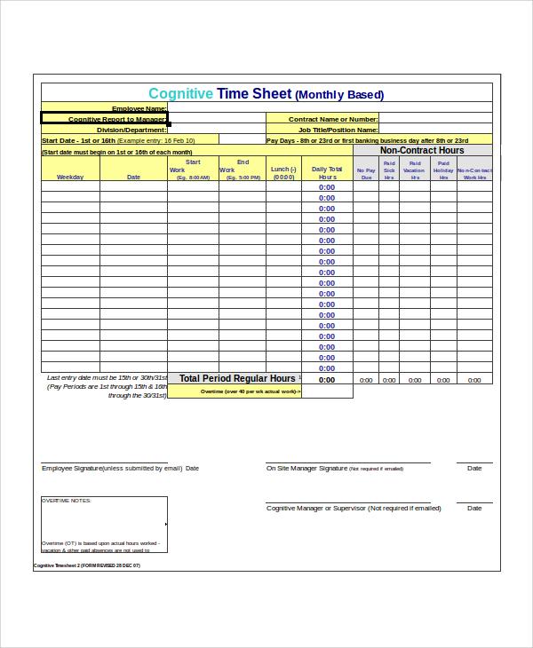 20+ Timesheet Calculators Sample Templates - monthly time sheet calculator