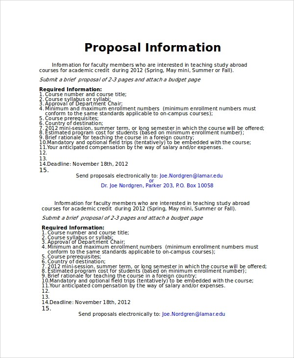 Grant Proposal Template Ms Word With Free Cover Letter Sample Powerpoint Proposal Template 9 Free Documents