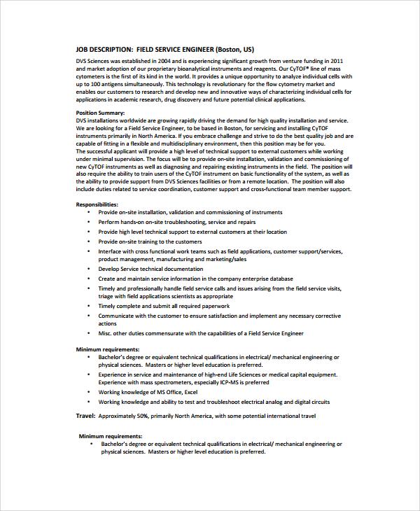 biomedical field service engineer resume sample