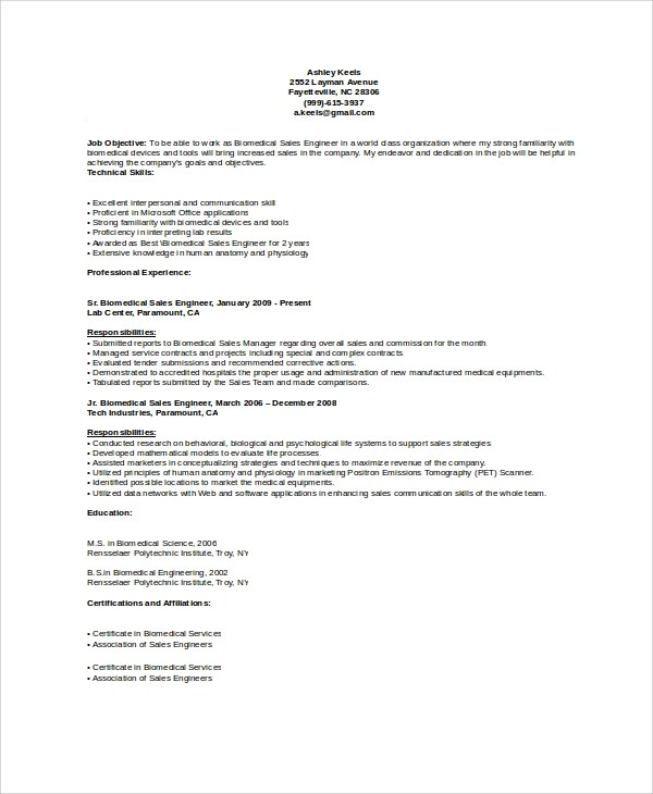 Resume Template 781 Free Samples Examples Format Sample Biomedical Engineer Resume 9 Free Documents