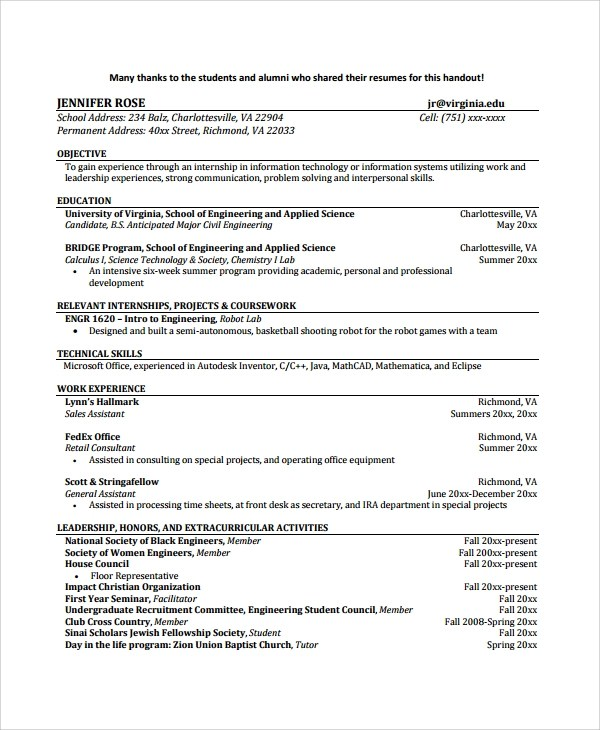 Sample Resume Templates Word Resume Templates Sample Biomedical Engineer Resume 9 Free Documents