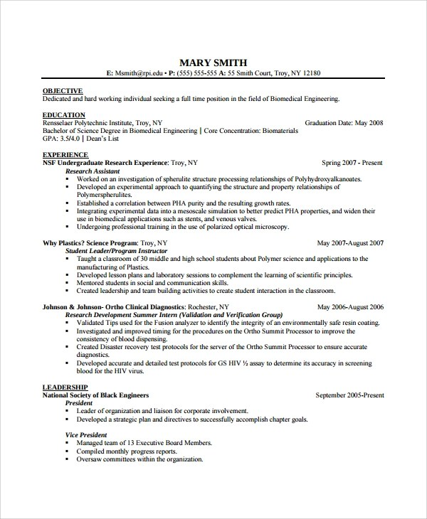 Sample Biomedical Engineer Resume - 9+ Free Documents Download in - biomedical engineer resume