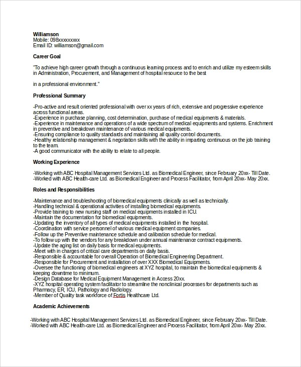 electronics engineer resume sample for freshers engineer resume