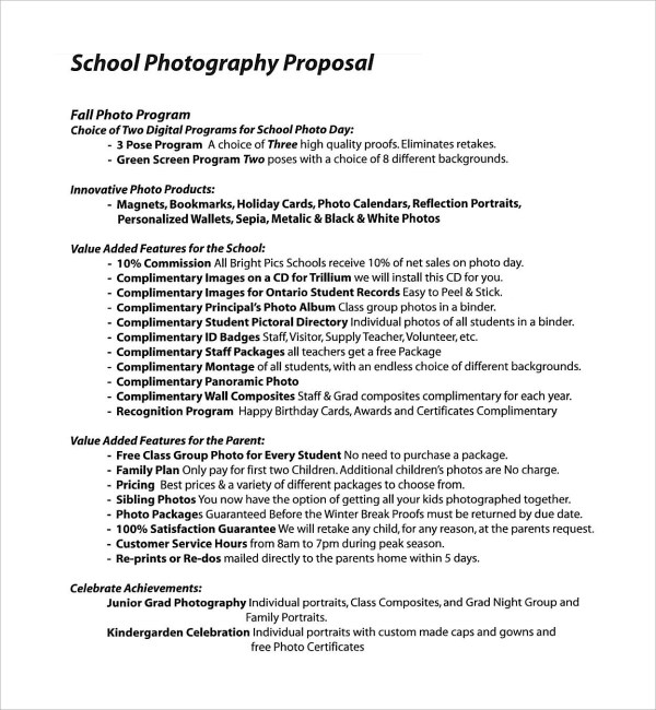 13+ Photography Proposal Templates Sample Templates