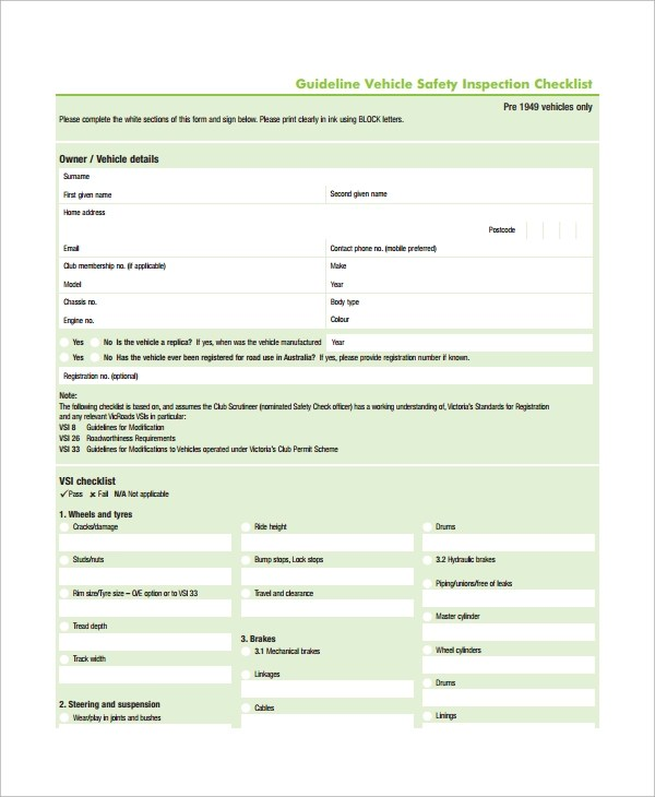10+ Vehicle Inspection Checklist Templates \u2013 PDF,Word, Excel, Pages