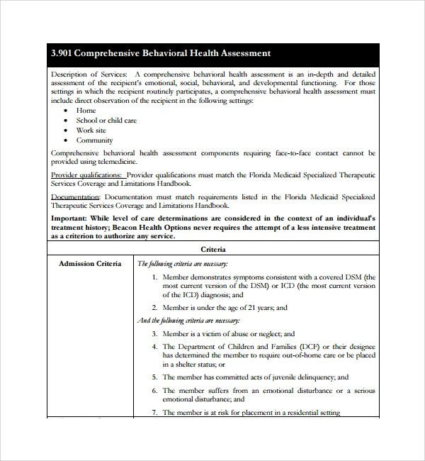 Sample Health Assessment Template - 5+ Free Documents in PDF, Word - sample health assessment