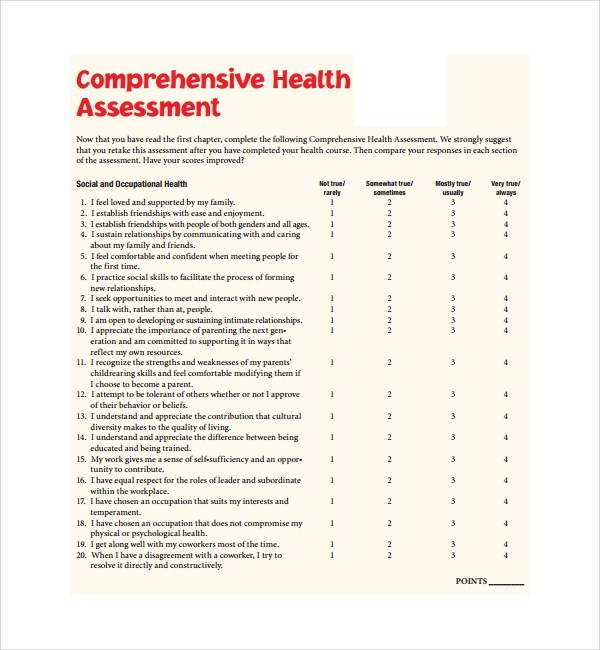 Sample Health Assessment Occupational Health Assessment Report Form