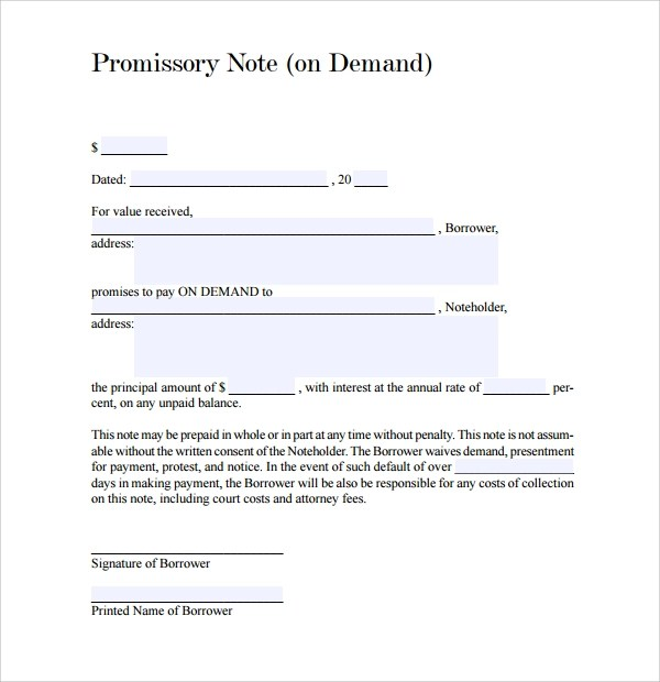 10+ Demand Promissory Notes Sample Templates - promissory letter sample