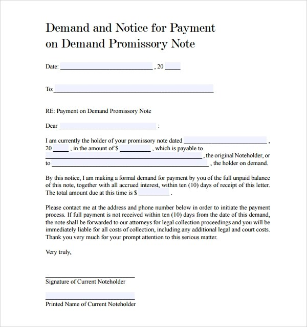 Sample Demand Promissory Note - 9+ Free Documents in PDF, Word