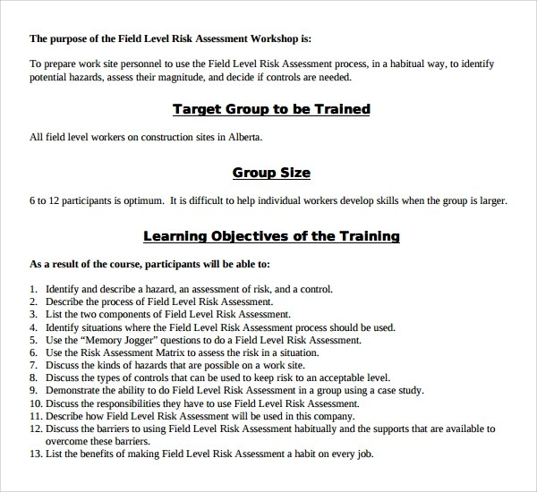 9+ Hazard Assessment Templates Sample Templates