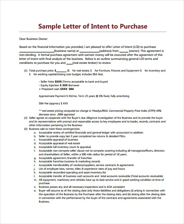 9+ Letters of Intent to Purchase Property \u2013 PDF, Word Sample Templates