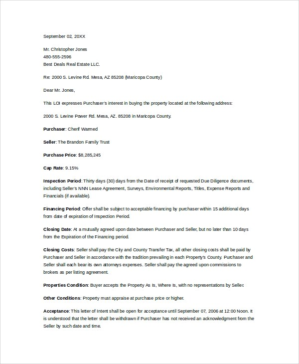 10+ Letters of Intent to Purchase Property - PDF, Word