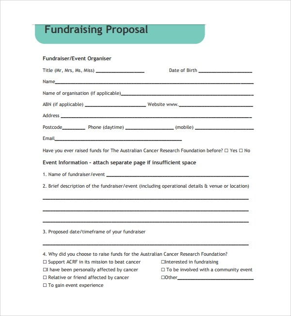 11+ Fundraising Proposal Templates Sample Templates - Fundraising Forms Templates