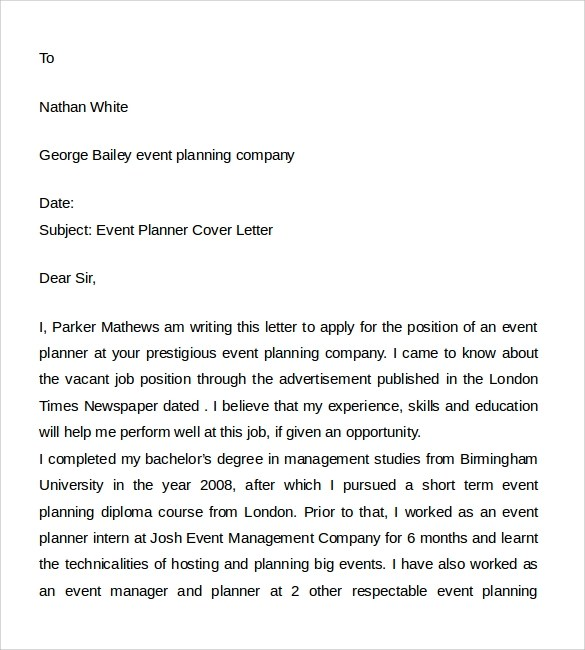 8+ Event Planner Cover Letters Sample Templates