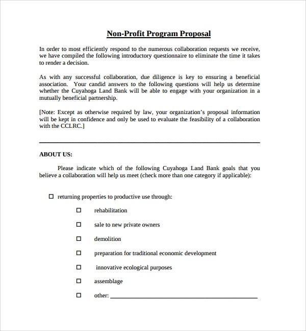 Sample Non Profit Proposal Template 7 Free Documents In Pdf Sample Non Profit Proposal Template 7 Free Documents In Pdf