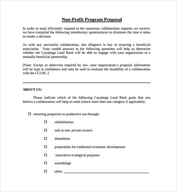 non profit project proposal template