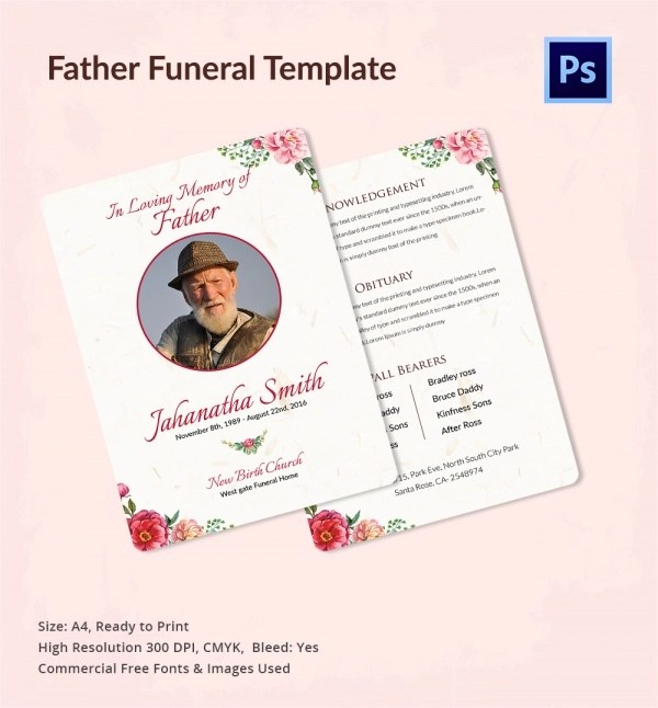 Marvelous ... Sample Father Funeral Program   11+ Documents In PDF, PSD, WORD   Father  ...