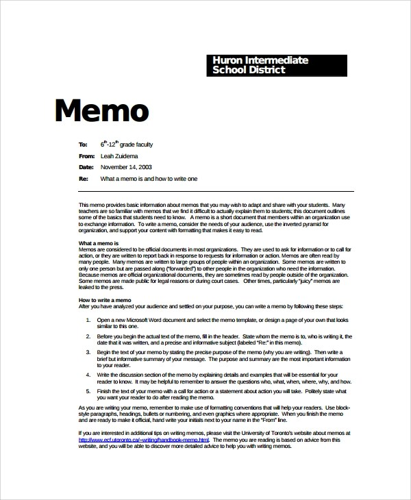 corporate memo example - Goalgoodwinmetals - memo layout examples