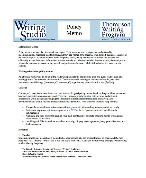 Sample Formal Memo Template - 8+ Documents Download in Word, PDF