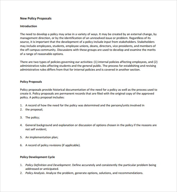 Sample Policy Proposal Template - 9+ Free Documents in PDF - policy proposal template