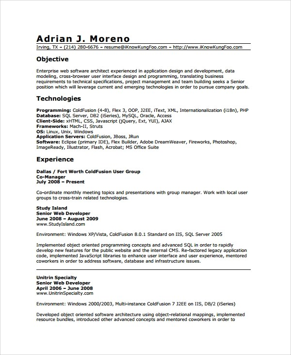 A Good Job Resume Good Resume Objective Statement Examples Resume Sample Web Developer Resume 7 Free Documents Download