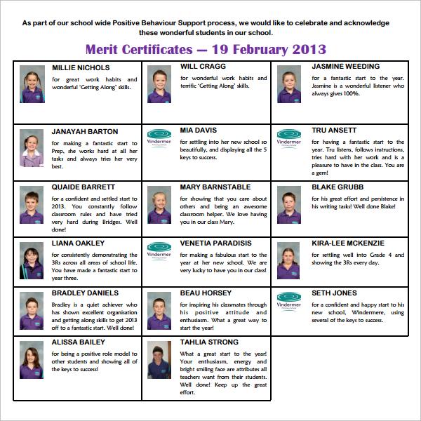 Sample Merit Certificate Template - 10+ Free Documents in PDF - merit certificate sample