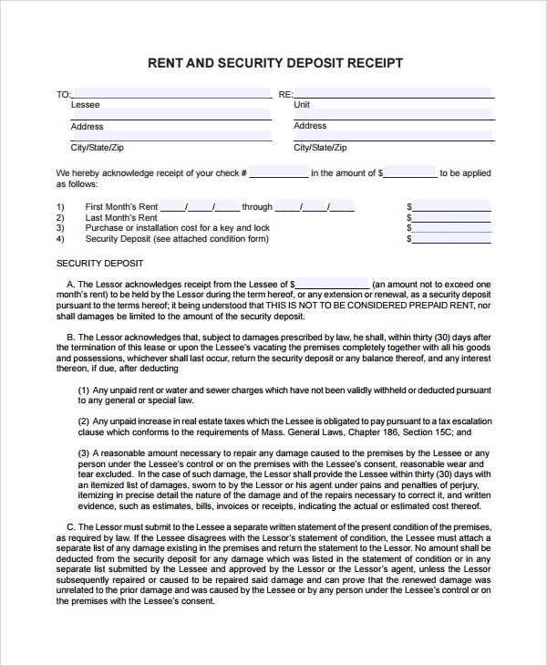 9+ Security Deposit Receipt Templates Sample Templates