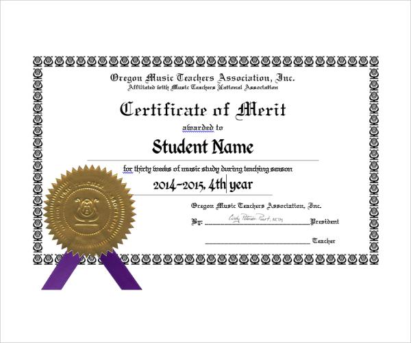 11+ Merit Certificate Templates Sample Templates - certification templates