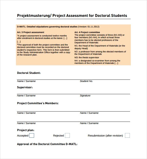 Sample Project Assessment Template - 9+ Free Documents in PDF, Word - sample assessment plan