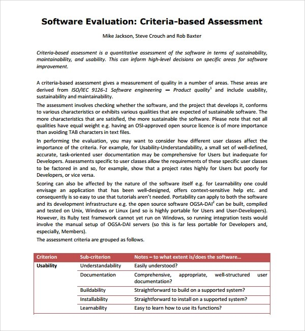 10+ Software Assessment Templates Sample Templates - software evaluation template