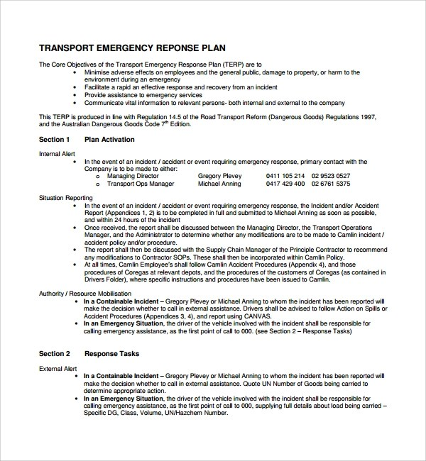 Sample Emergency Response Plan Template - 9+ Free Documents in PDF, Word