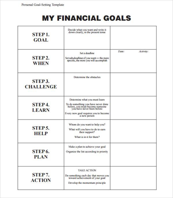 financial goals template - personal goal template