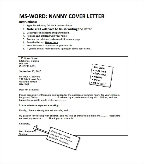 nanny cover letters