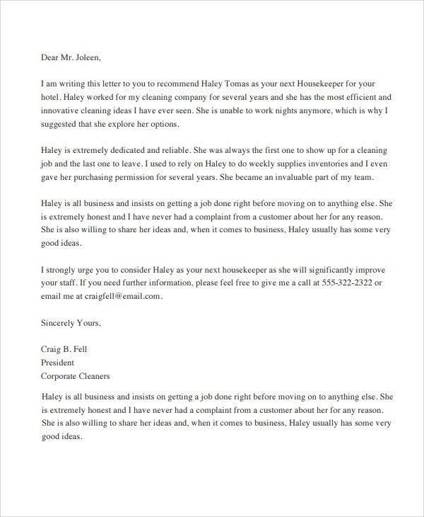 Sample Letter of Recommendation - 20+ Free Documents Download in