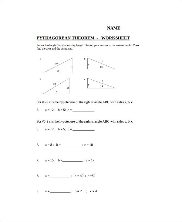 10+ Pythagorean Theorem Worksheet Sample Templates - pythagorean theorem worksheet
