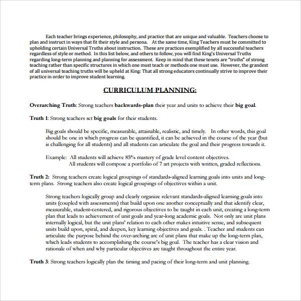 10+ Curriculum Planning Templates Sample Templates - curriculum planning template