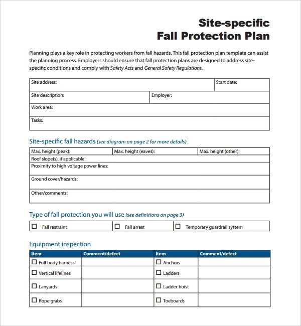 Sample Fall Protection Plan Template - 9+ Free Documents in PDF, Word - fall protection plan template