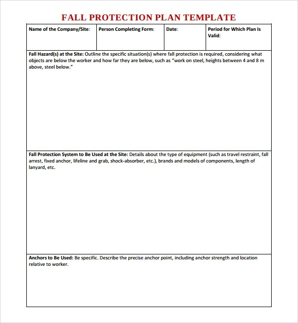 10+ Fall Protection Plan Templates Sample Templates - fall protection plan template