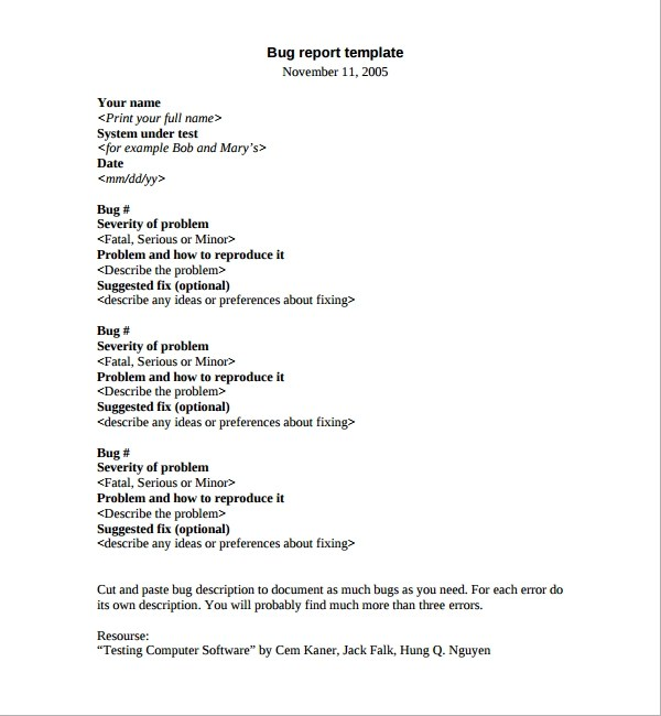 7+ Bug Report Templates Sample Templates