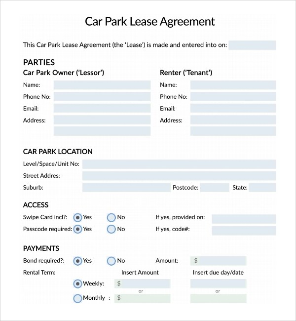 ... Sample Parking Agreement Template   10+ Free Documents In PDF, Word    Car Contract ...