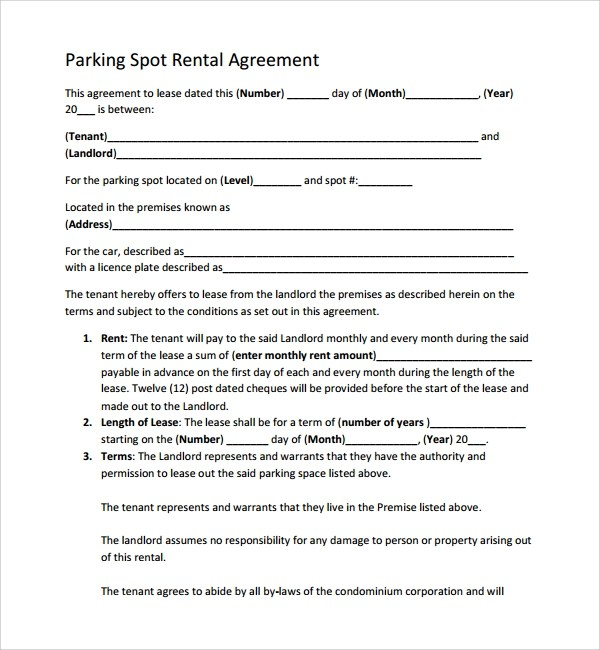 Sample Parking Lease Agreement Lease Agreement Parking Spot
